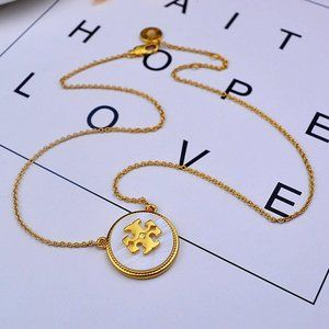 🍃Tory Burch White Natural Steel Stone Necklace